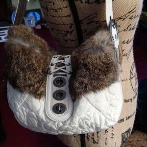 Coach Rabbit Fur Bag in Winter White